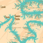 Lake Of The Ozarks MO With Mile Markers Map Art Print