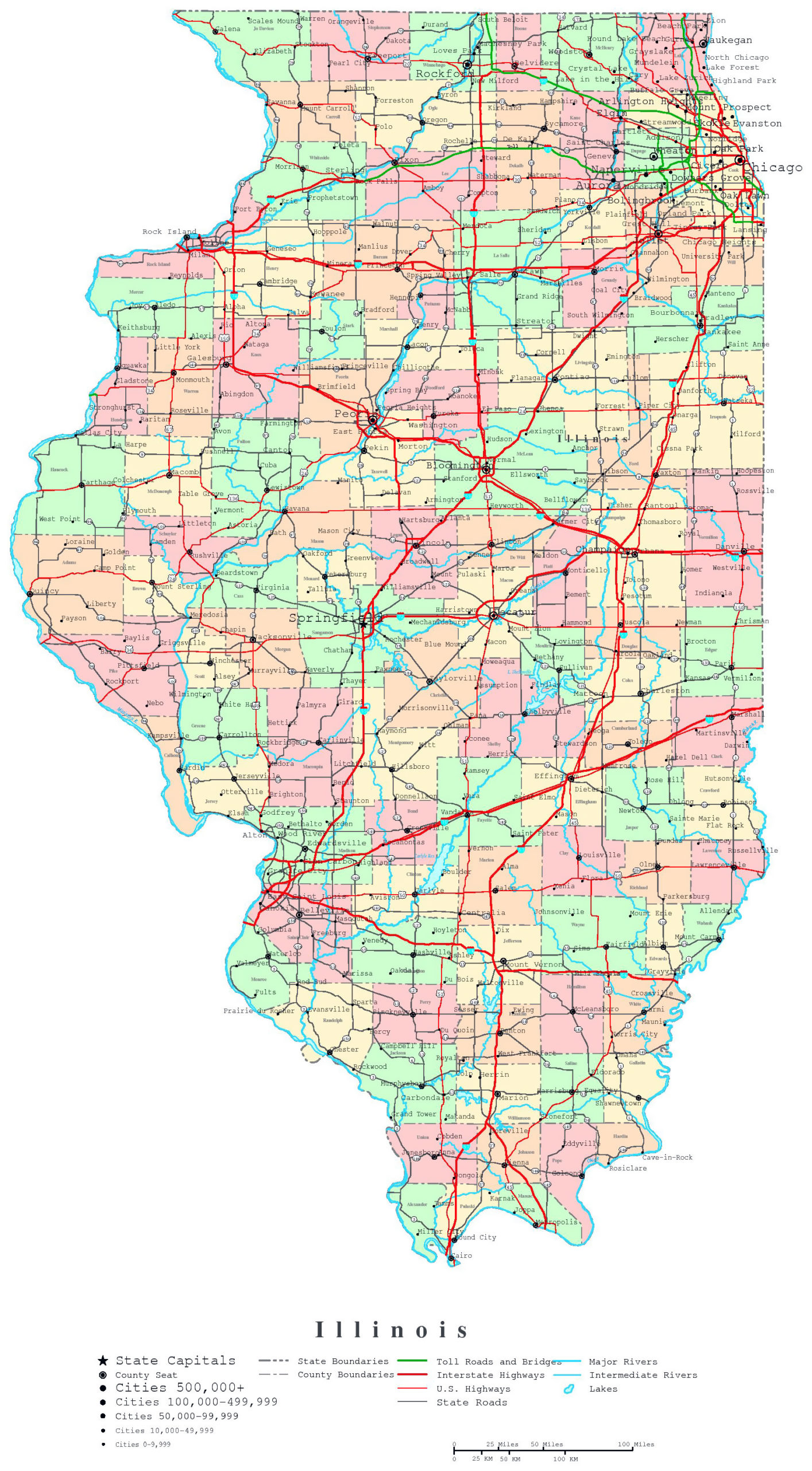 Large Detailed Administrative Map Of Illinois State With