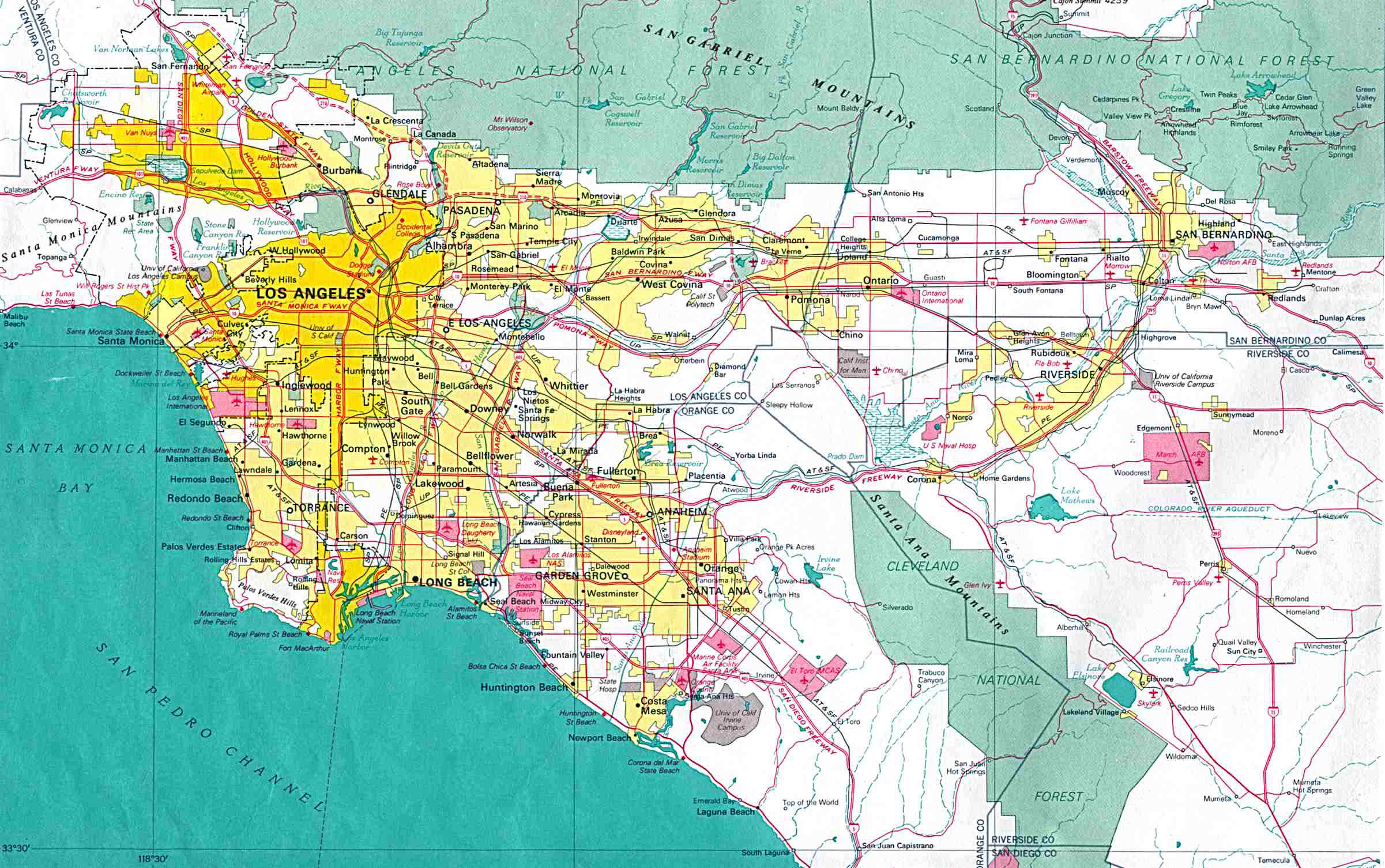 Large Detailed Map Of Los Angeles City Los Angeles City