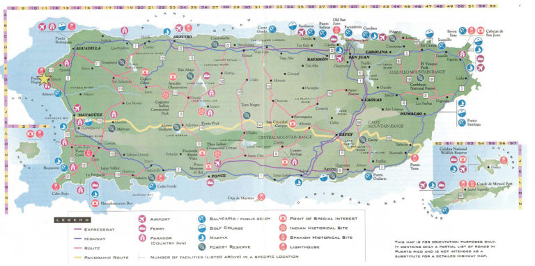 Large Detailed Road And Tourist Map Of Puerto Rico Puerto