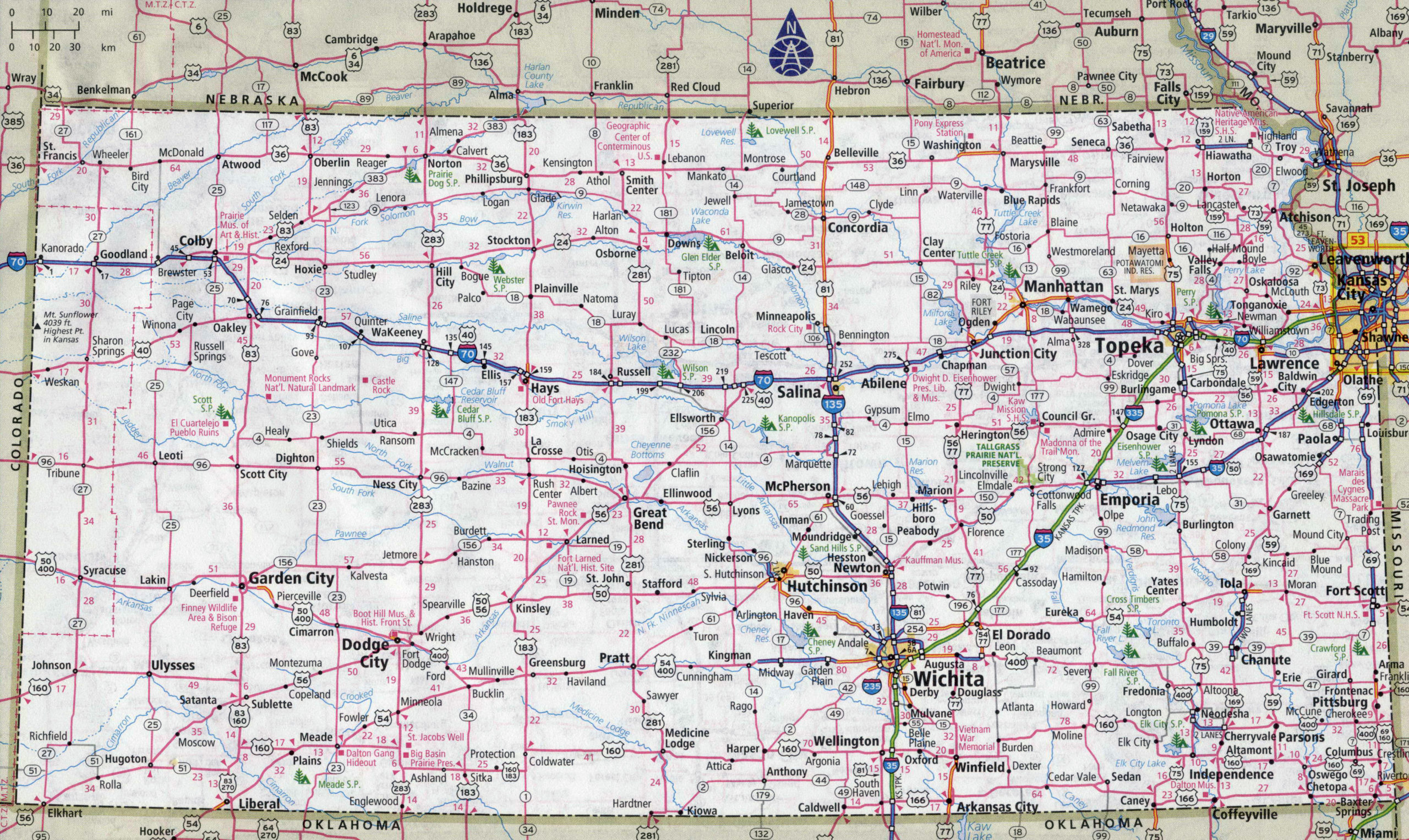 Large Detailed Roads And Highways Map Of Kansas State With