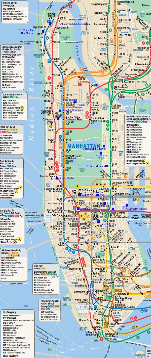 Large Detailed Subway Map Of Manhattan Manhattan Large