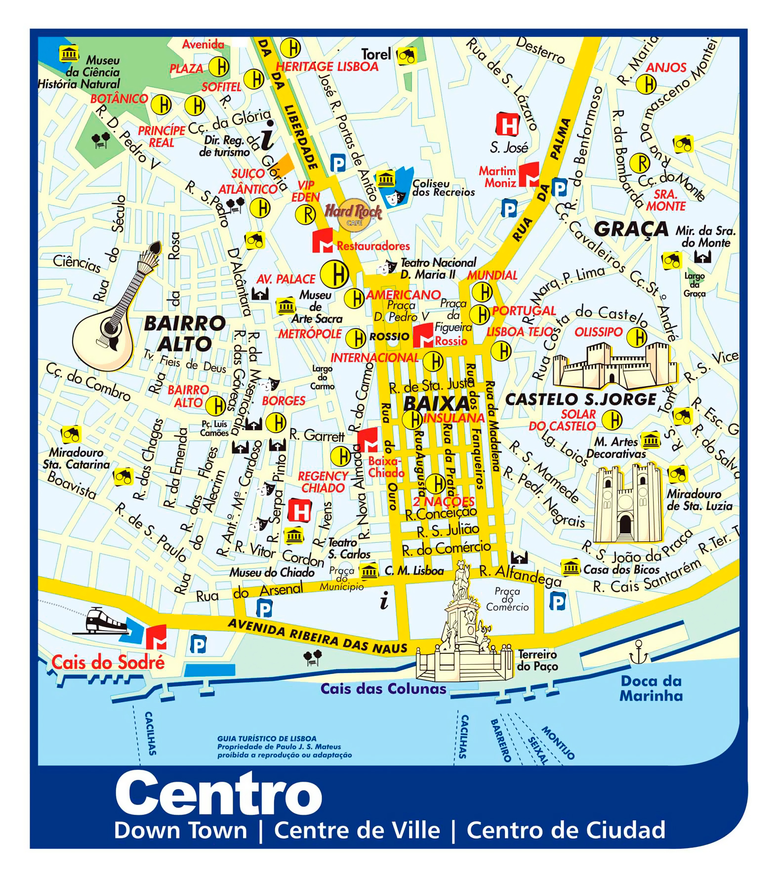 Large Detailed Tourist Map Of Lisbon City Downtown