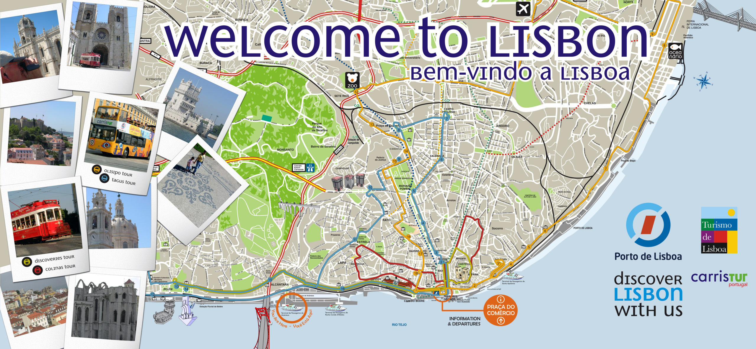 Large Detailed Tourist Map Of Lisbon Vidiani Maps