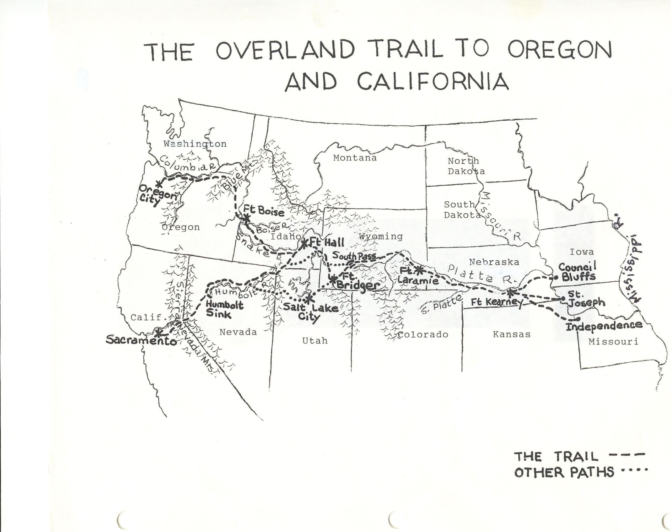 Large Oregon Trail Map Oregon Trail Project California