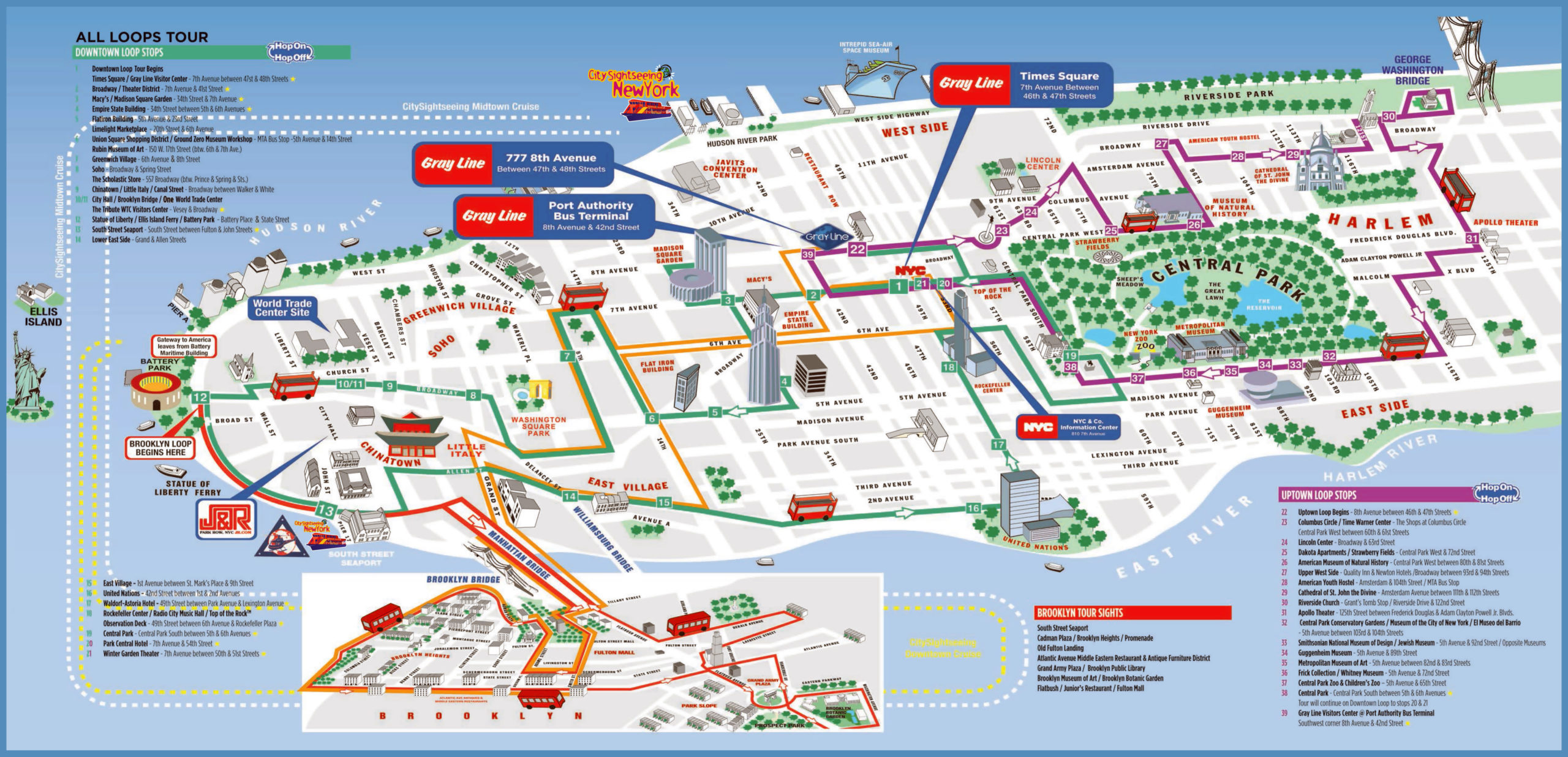 Large Printable Tourist Attractions Map Of Manhattan New