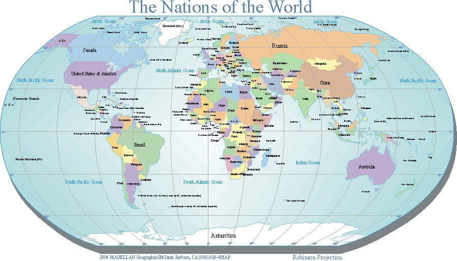 Large Printable World Map With Countries In PDF World