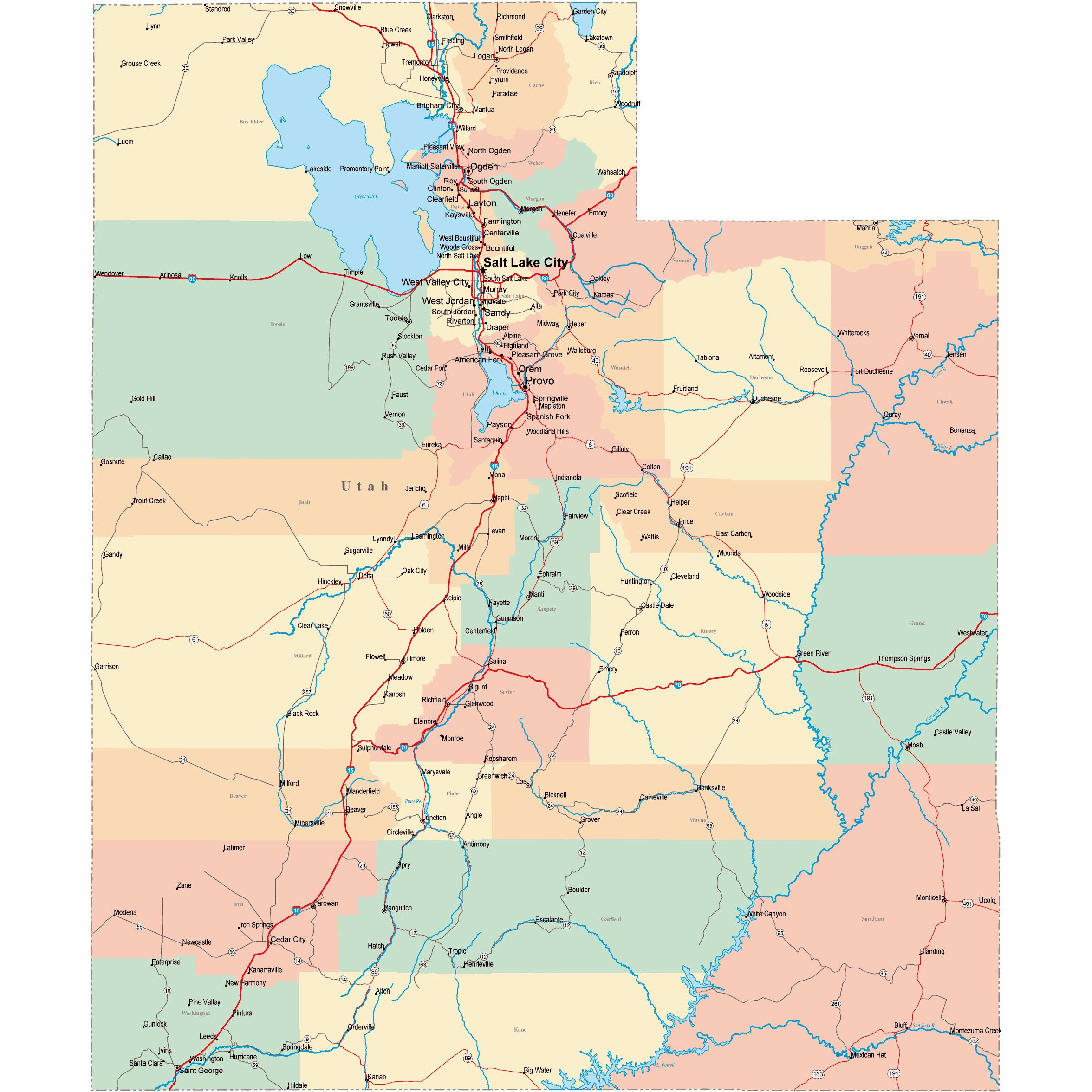 Large Utah Maps For Free Download And Print High