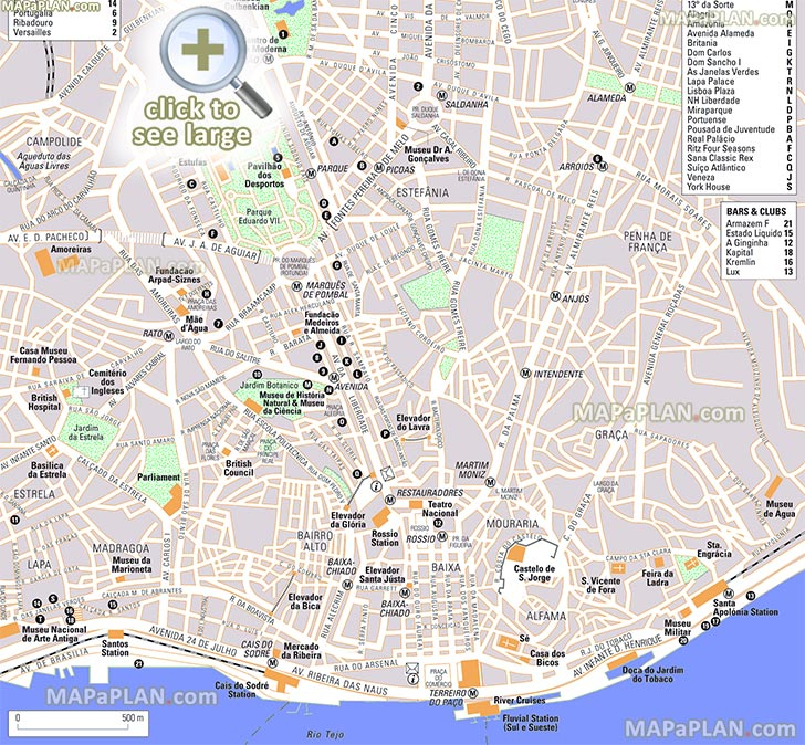 Lisbon Maps Top Tourist Attractions Free Printable