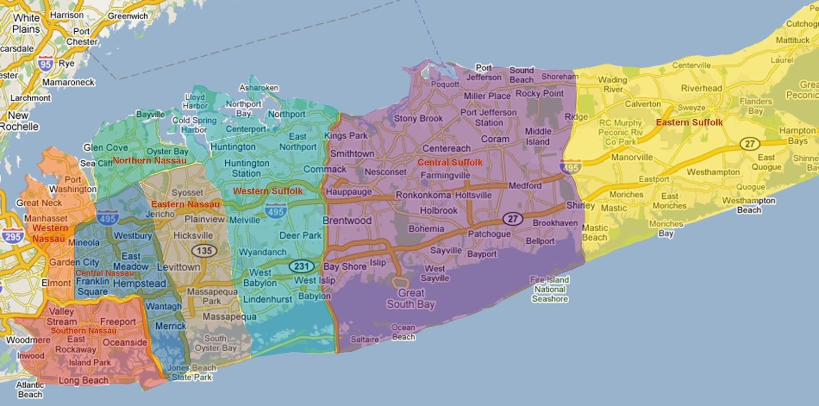 Long Island Neighborhoods Map Map Of Long Island