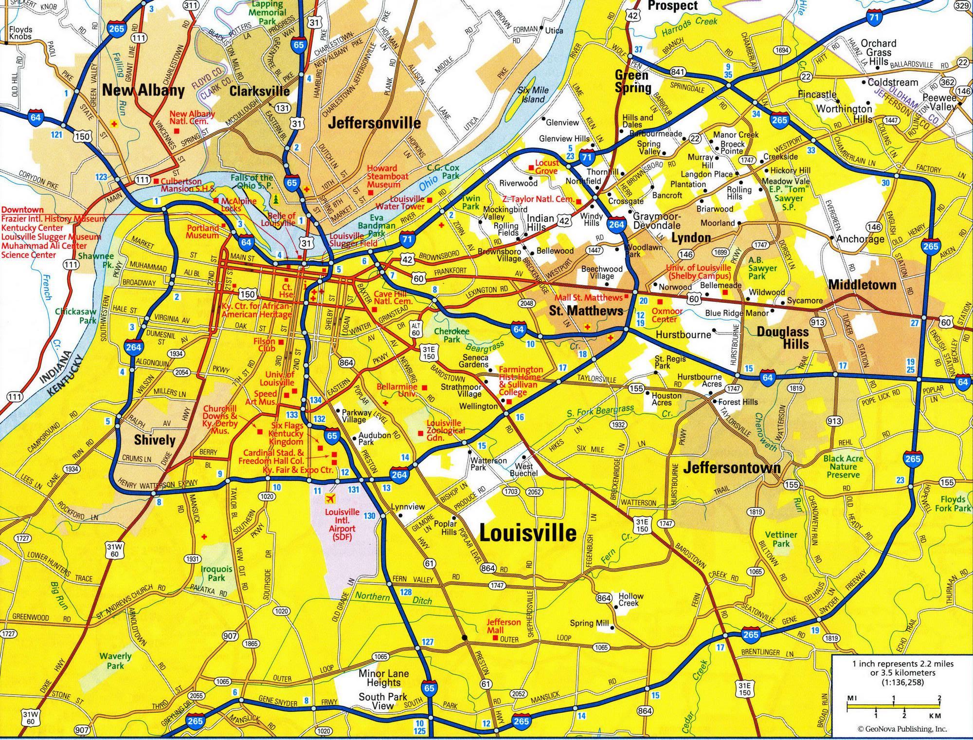 Louisville Road Map Road Map Of Louisville KY Kentucky USA