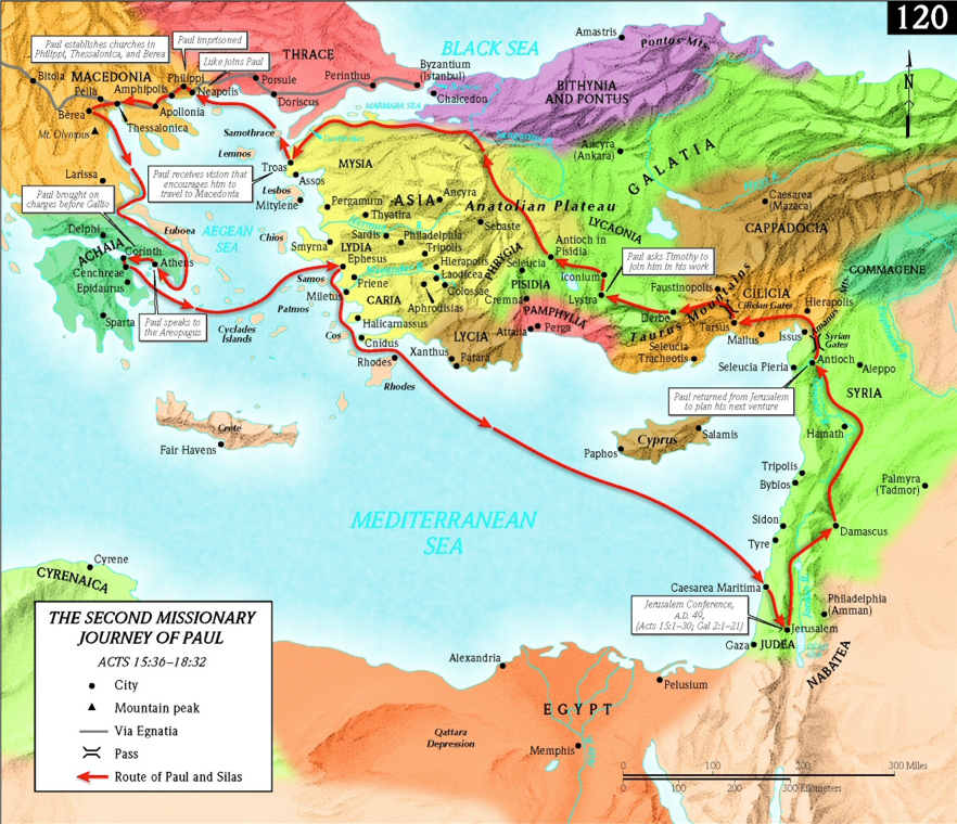 Map Apostle Paul Second Missionary Journey png Paul