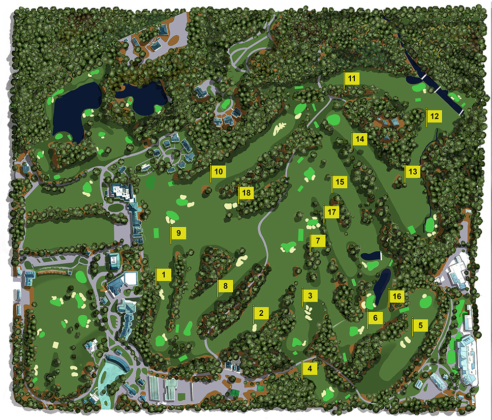 Map Illustration Of The Augusta National Golf Club Showing