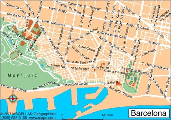 Map Of Barcelona Spain Barcelona City Centre