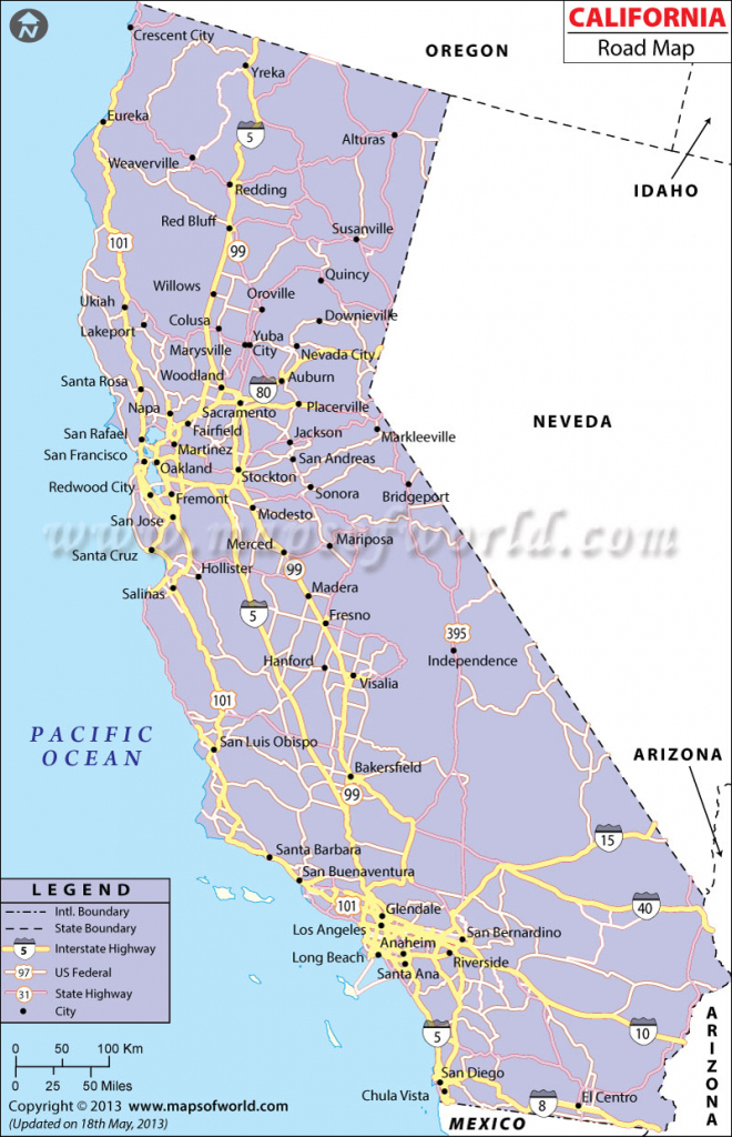 Map Of California Usa With Cities Printable Maps
