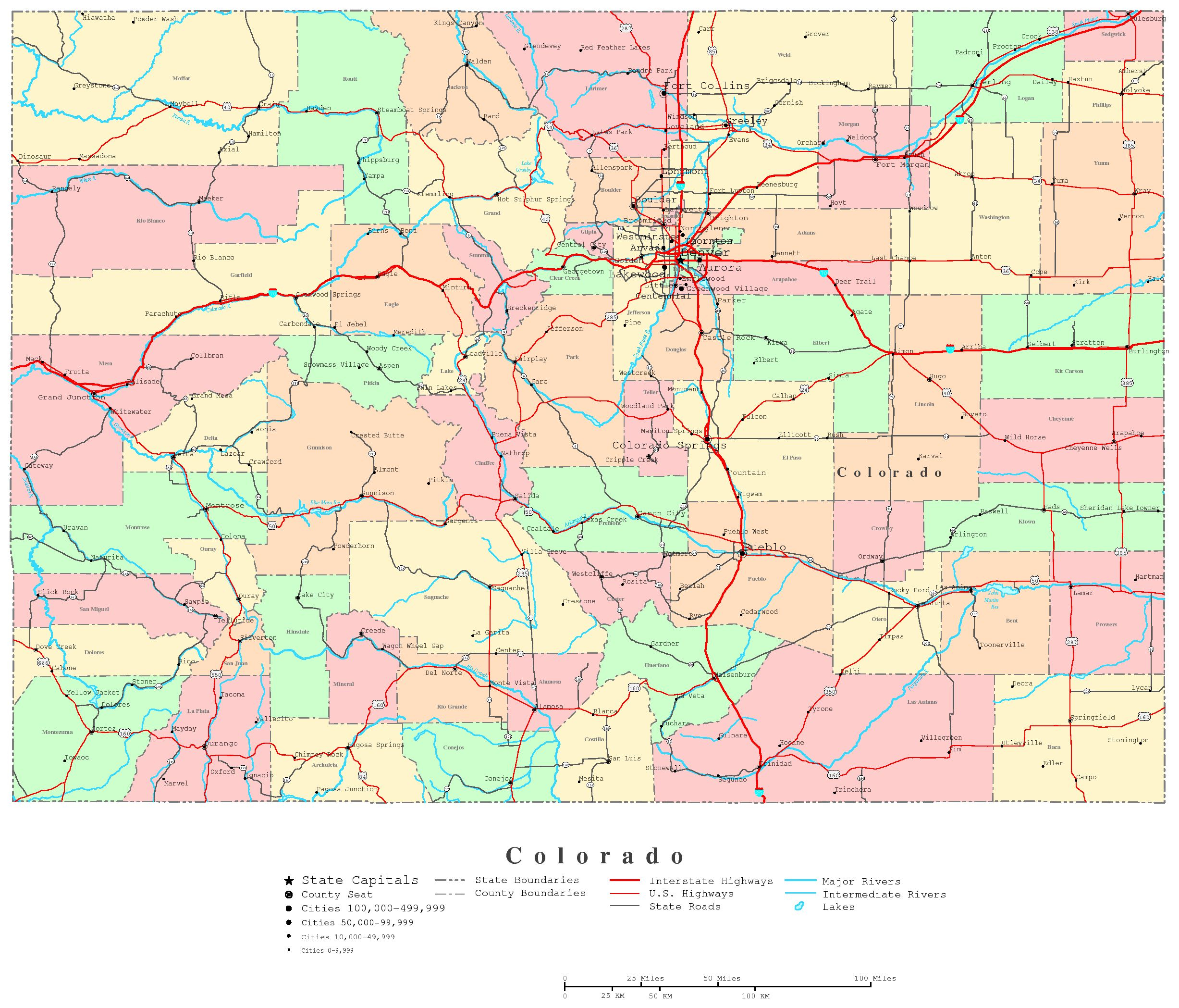 Map Of Colorado Free Large Images
