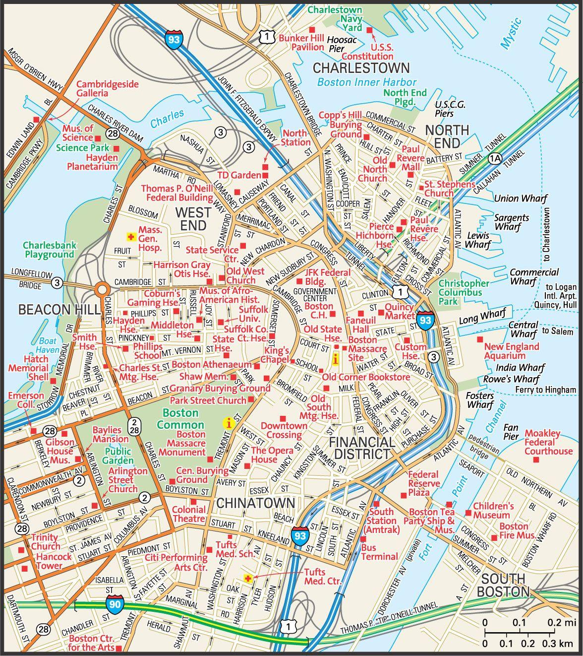 Map Of Downtown Boston Downtown Boston Street Map