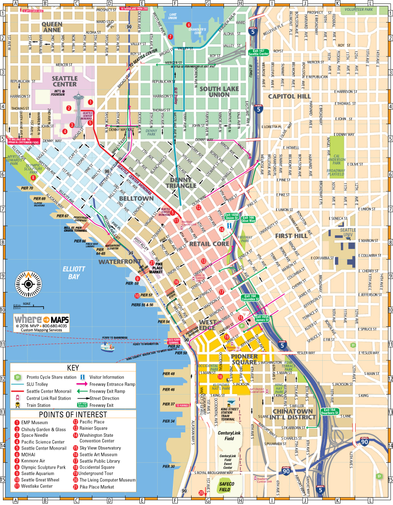 Map Of Downtown Seattle Interactive And Printable Maps