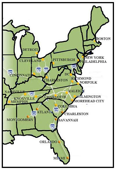 Map Of Eastern US