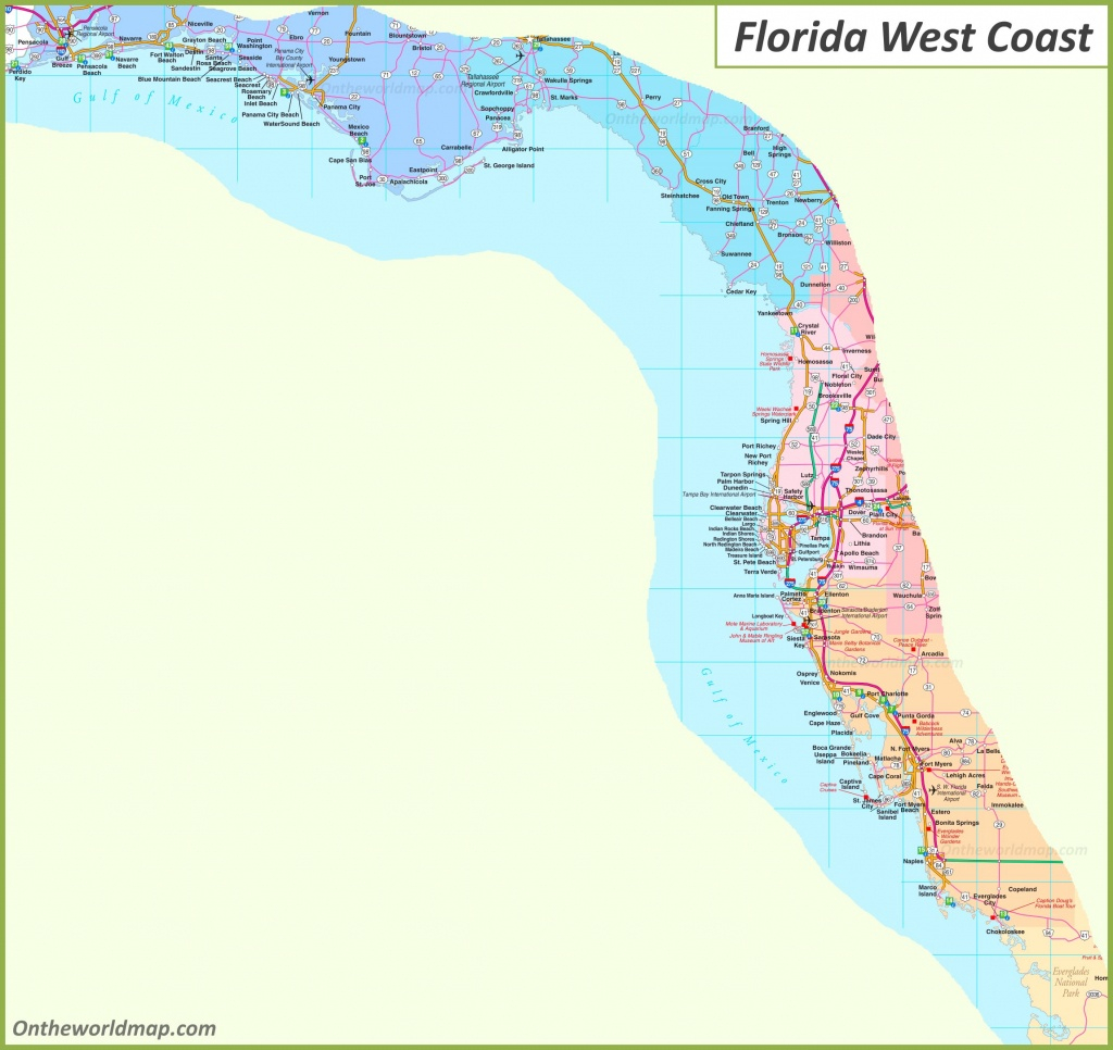 Map Of Florida West Coast Printable Maps