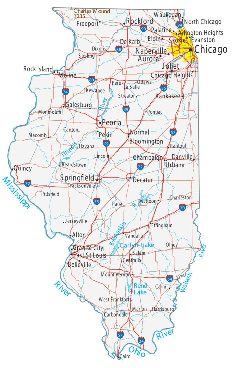 Map Of Illinois Political Physical Geographical