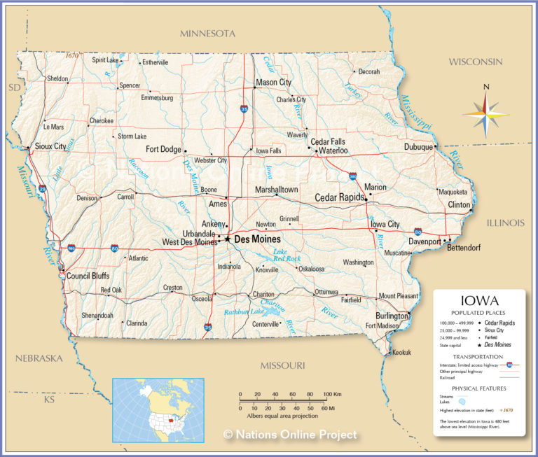 Map Of Iowa State USA Nations Online Project