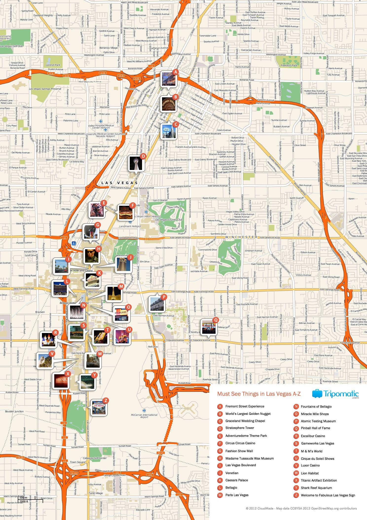 Map Of Las Vegas Attractions Tripomatic Las Vegas Map