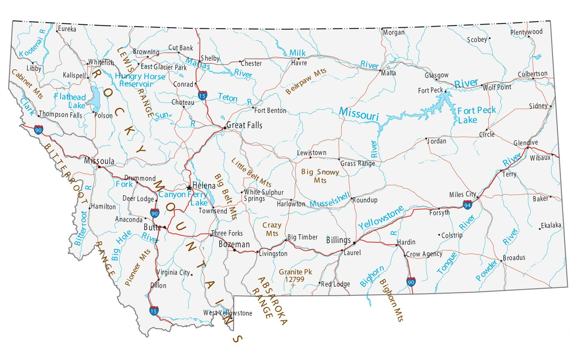Map Of Montana Cities And Roads GIS Geography