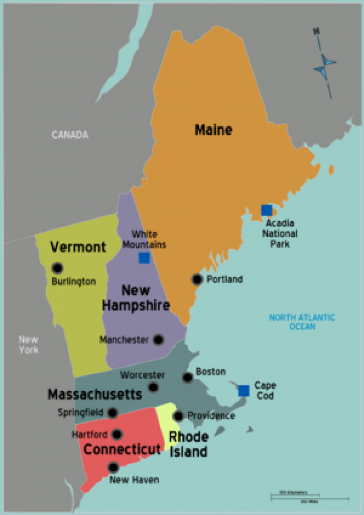 Map Of New England States And Their Capitals Printable Map