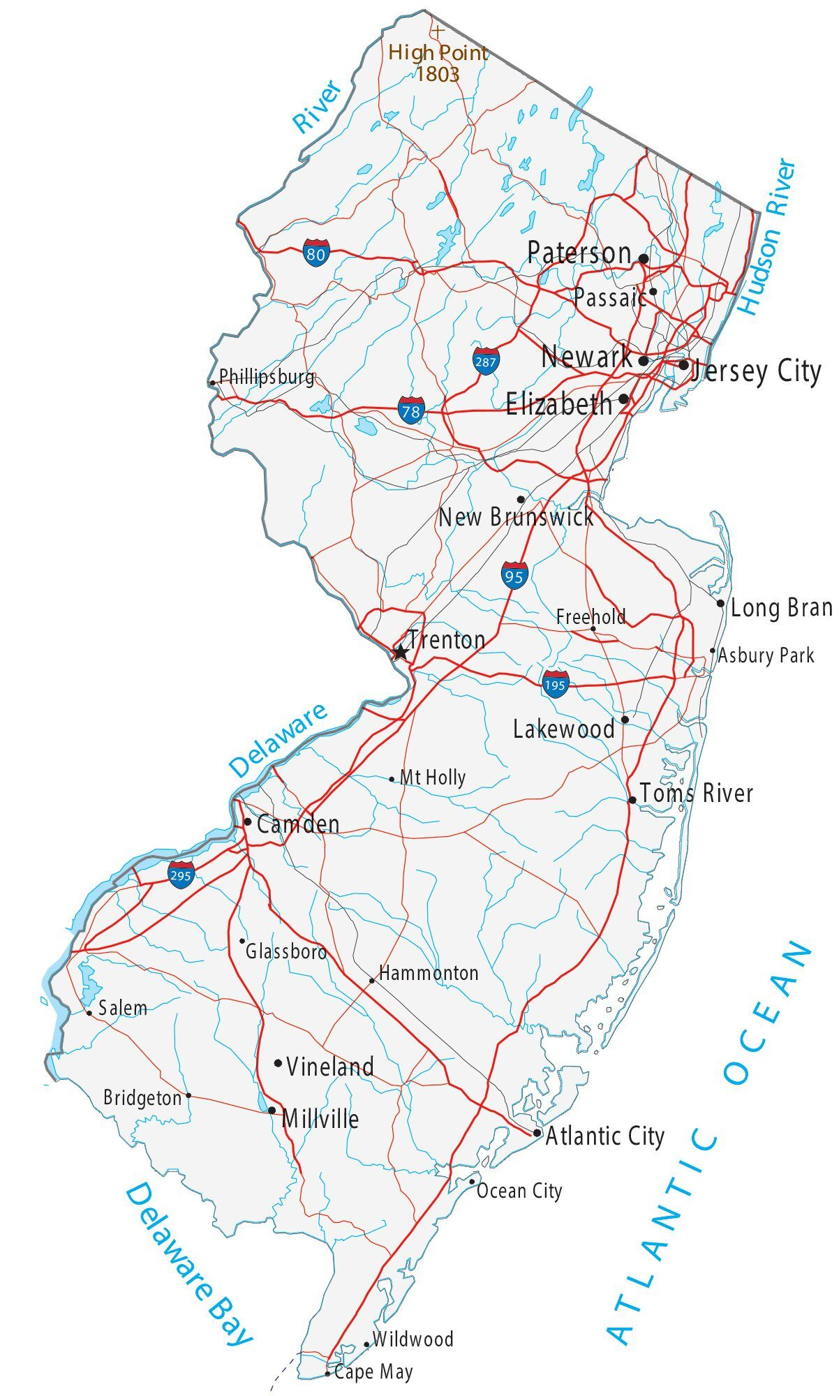 Map Of New Jersey Cities And Roads GIS Geography