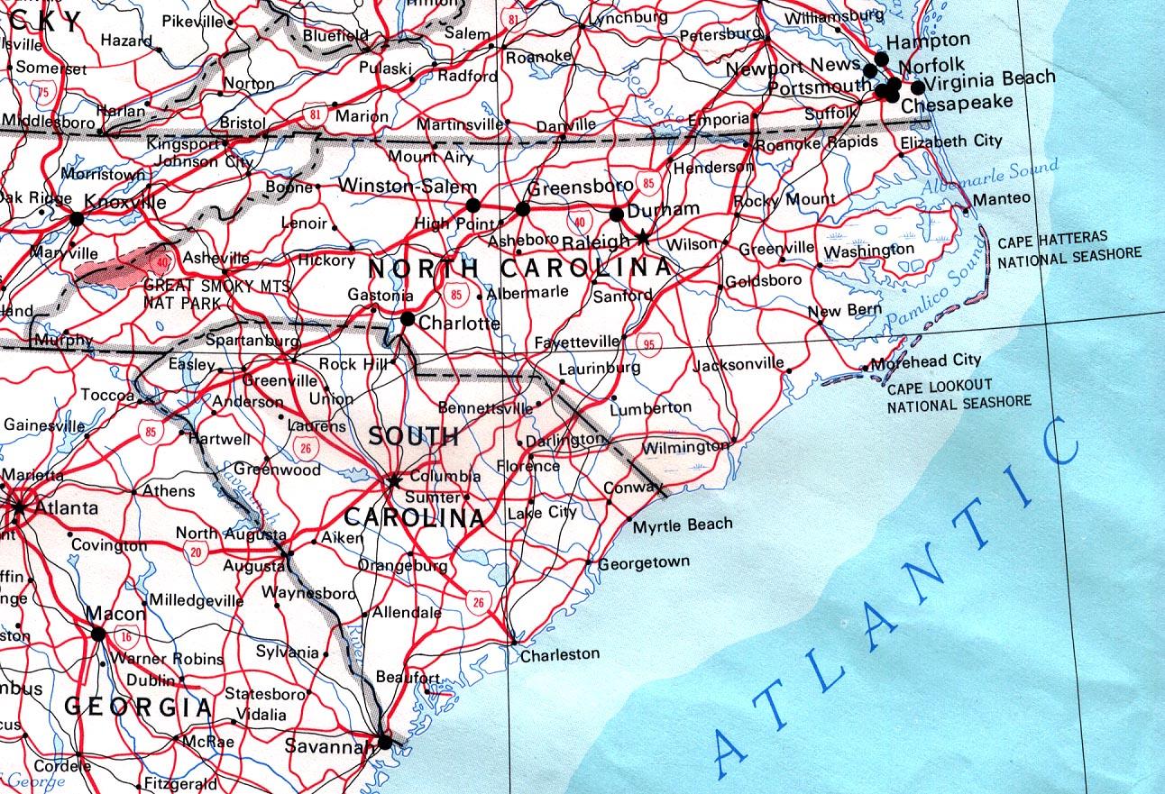 Map Of North Carolina Road Map Worldofmaps