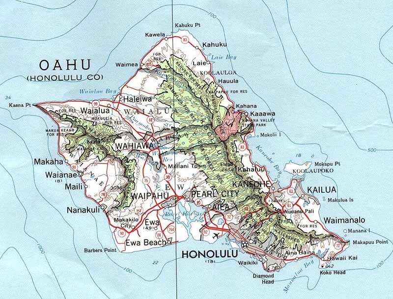 Map Of Oahu Hawaii Free Printable Maps