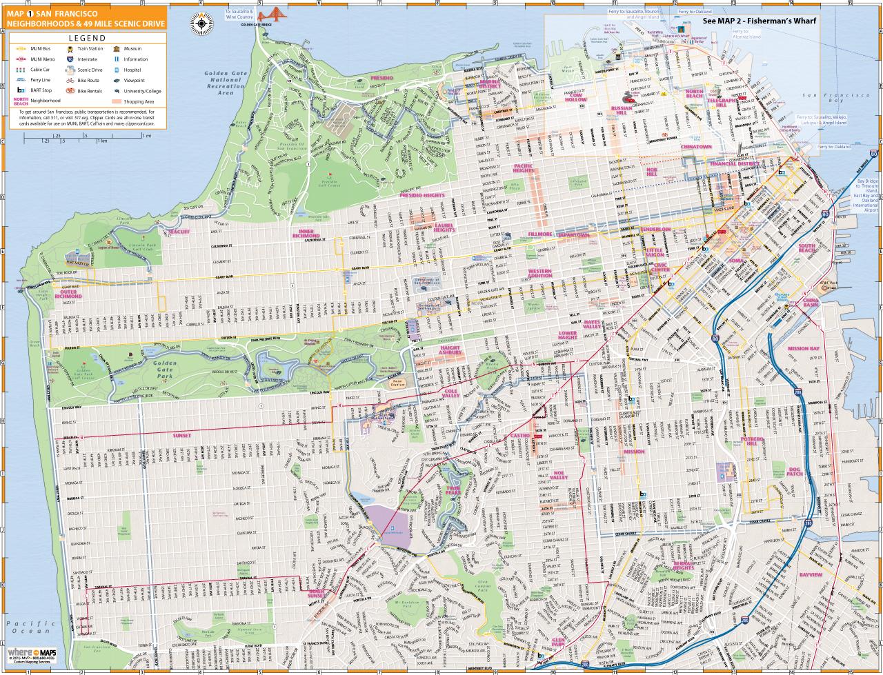 Map Of San Francisco Interactive And Printable Maps San