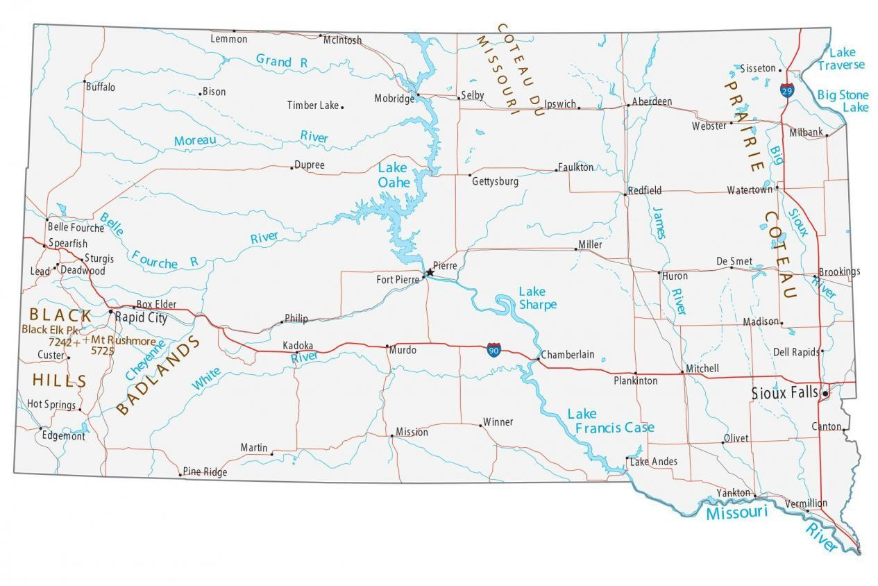 Map Of South Dakota Cities And Roads GIS Geography
