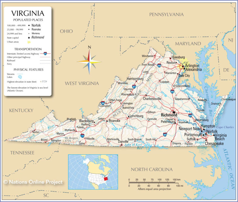Map Of The Commonwealth Of Virginia USA Nations Online