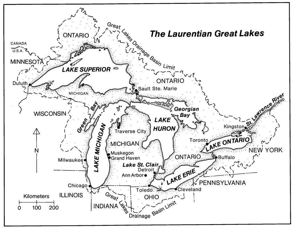 Map Of The Laurentian Great Lakes Map Of The Laurentian