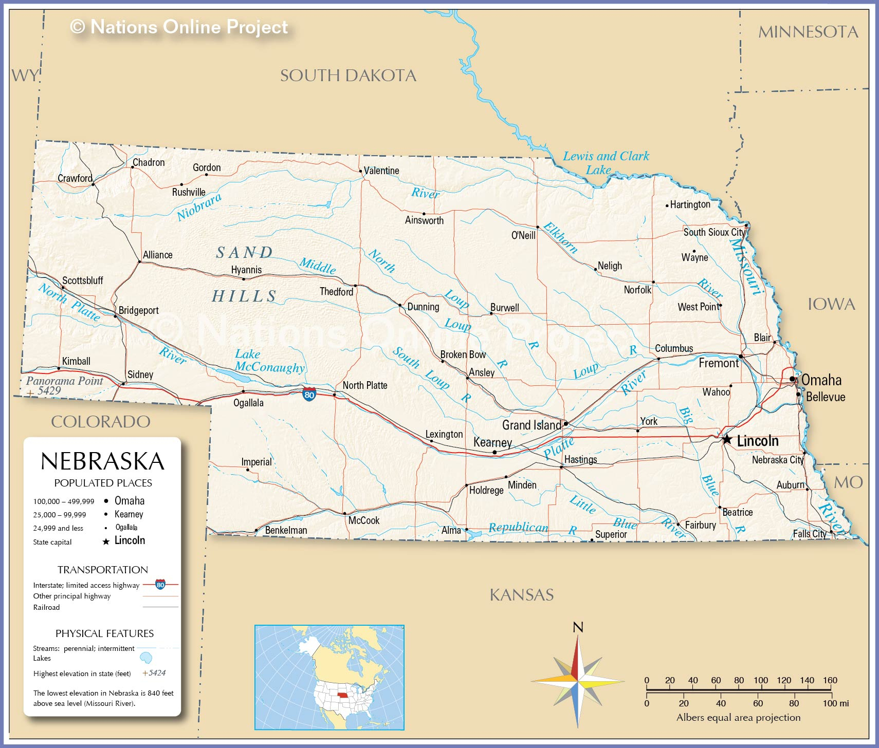 Map Of The State Of Nebraska USA Nations Online Project