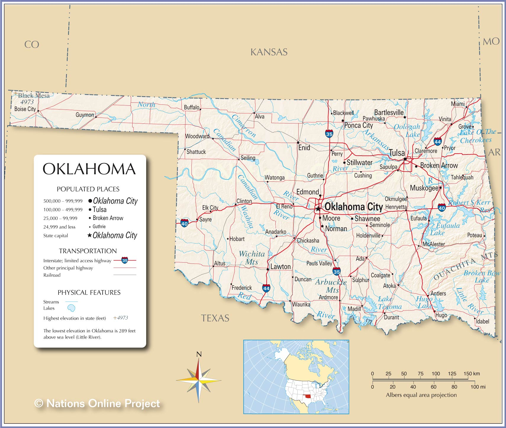Map Of The State Of Oklahoma USA Nations Online Project
