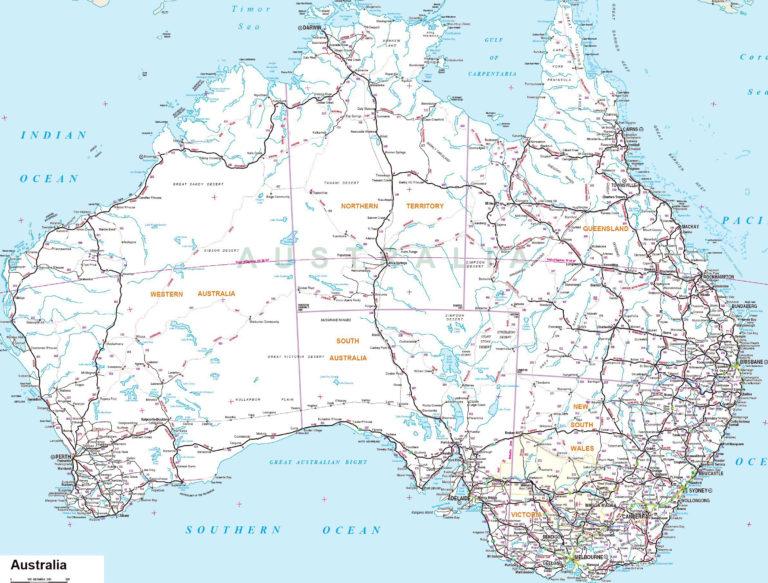 Mapas Imprimidos De Australia Con Posibilidad De Descargar