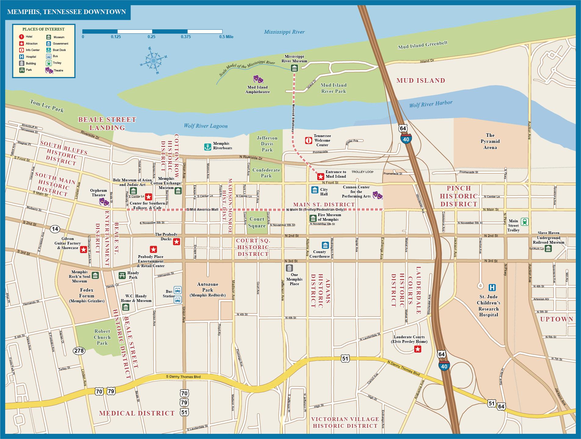 Memphis Downtown Map Digital Vector Creative Force