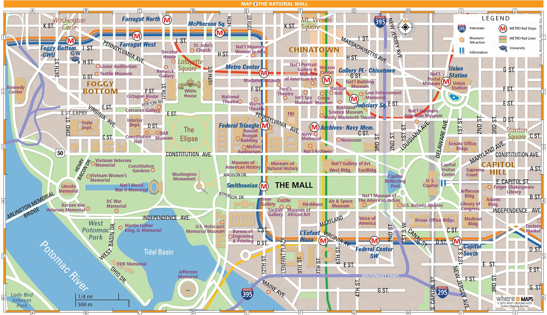 National Mall Map In Washington D C Washington D C