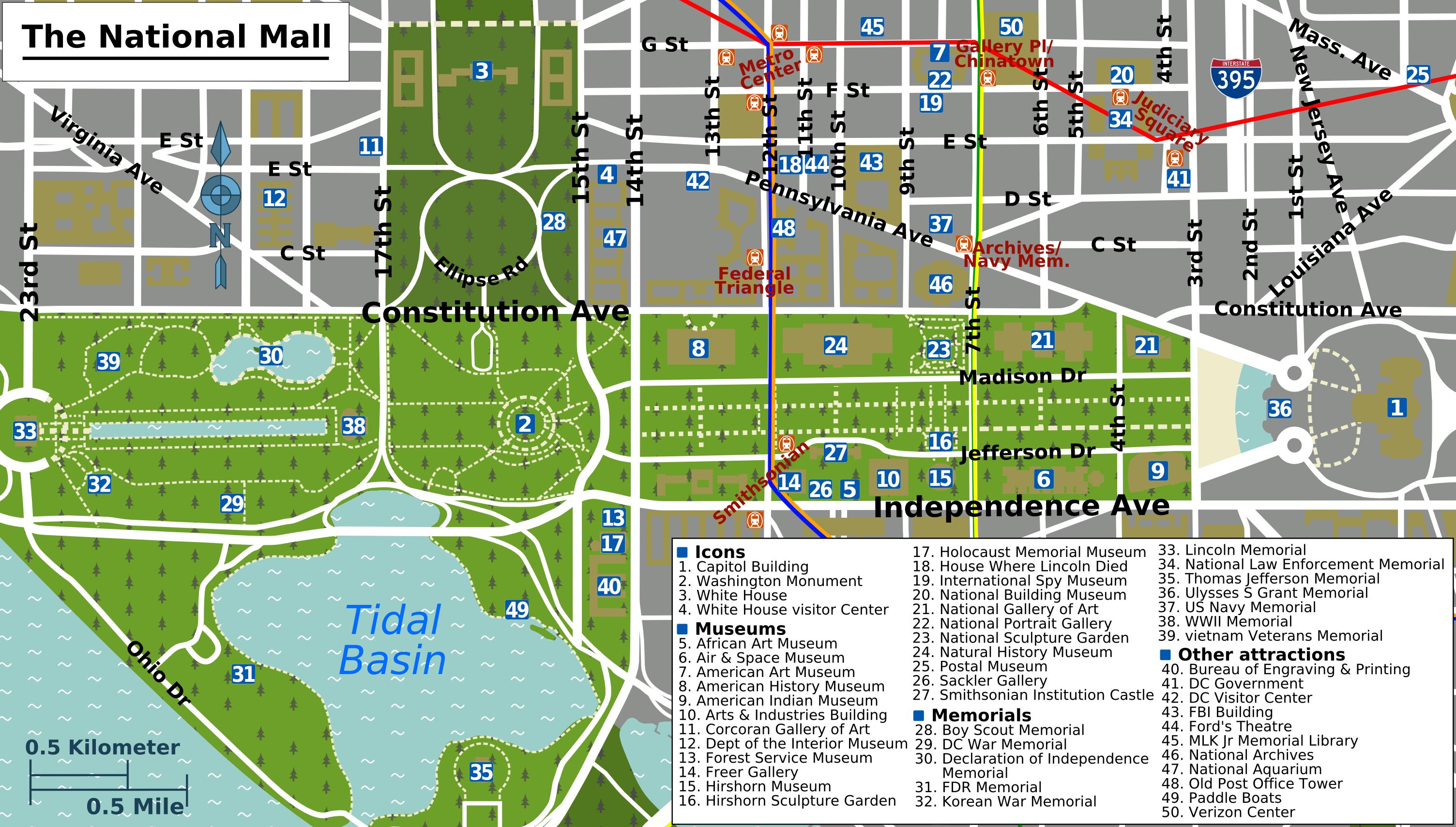 National Mall Map Washington DC National Mall Map