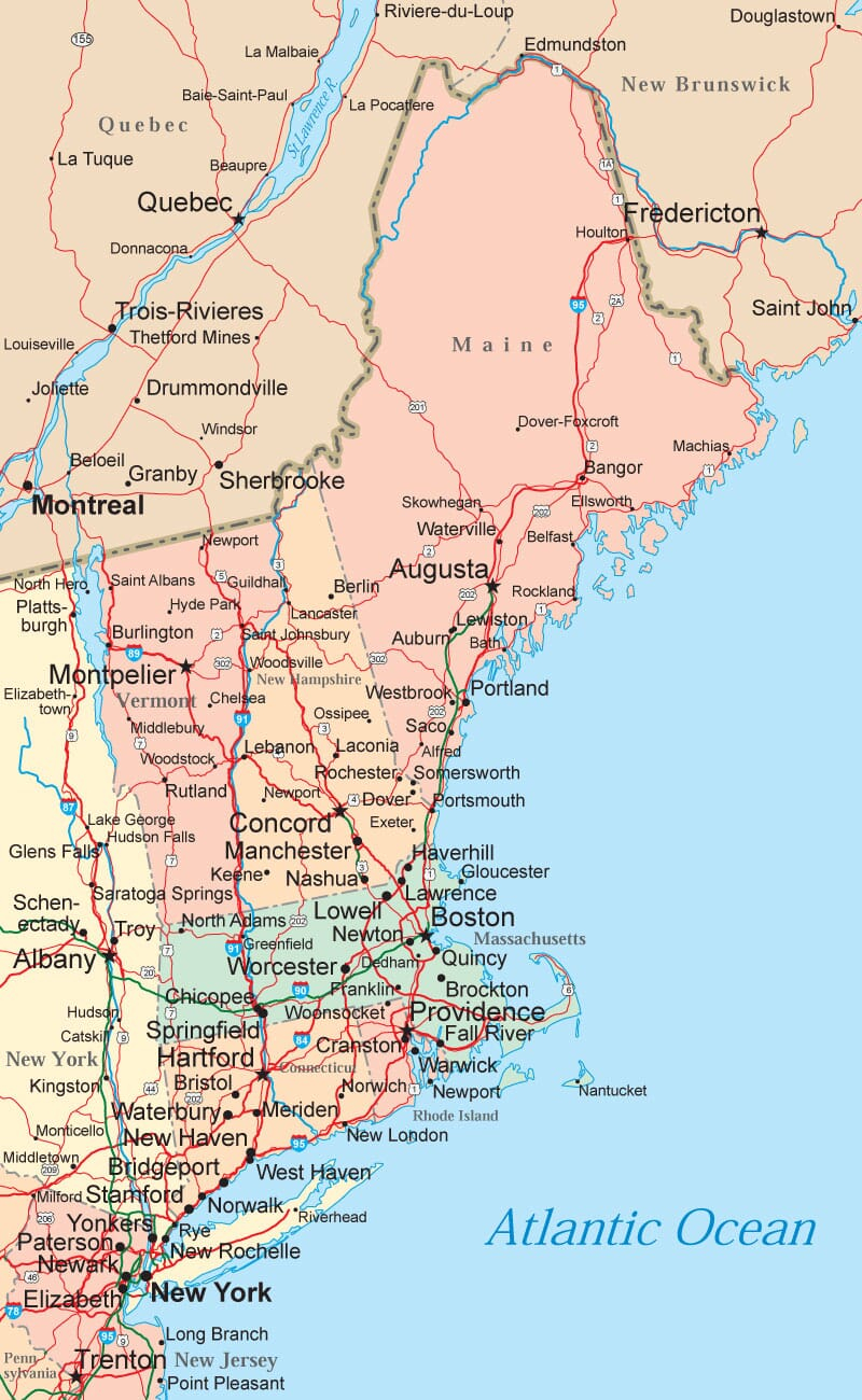 New England Map Maps Of The New England States