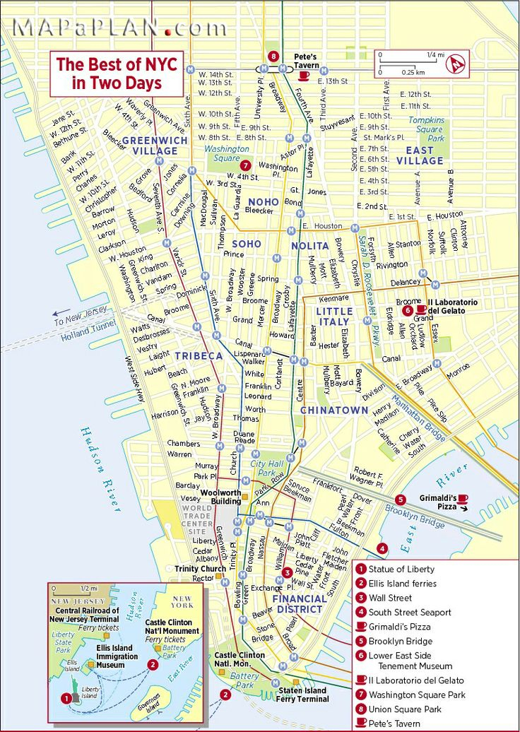 New York City Sights New York City Map Nyc Tourist Map