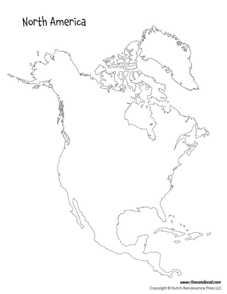 North America Map Tim s Printables