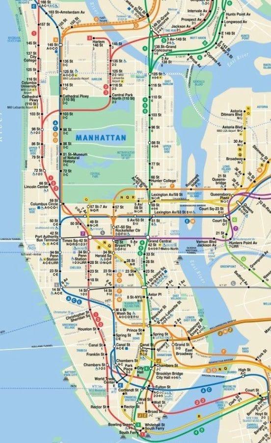 NYC Subway Map FREE Manhattan Maps Schedule Trip