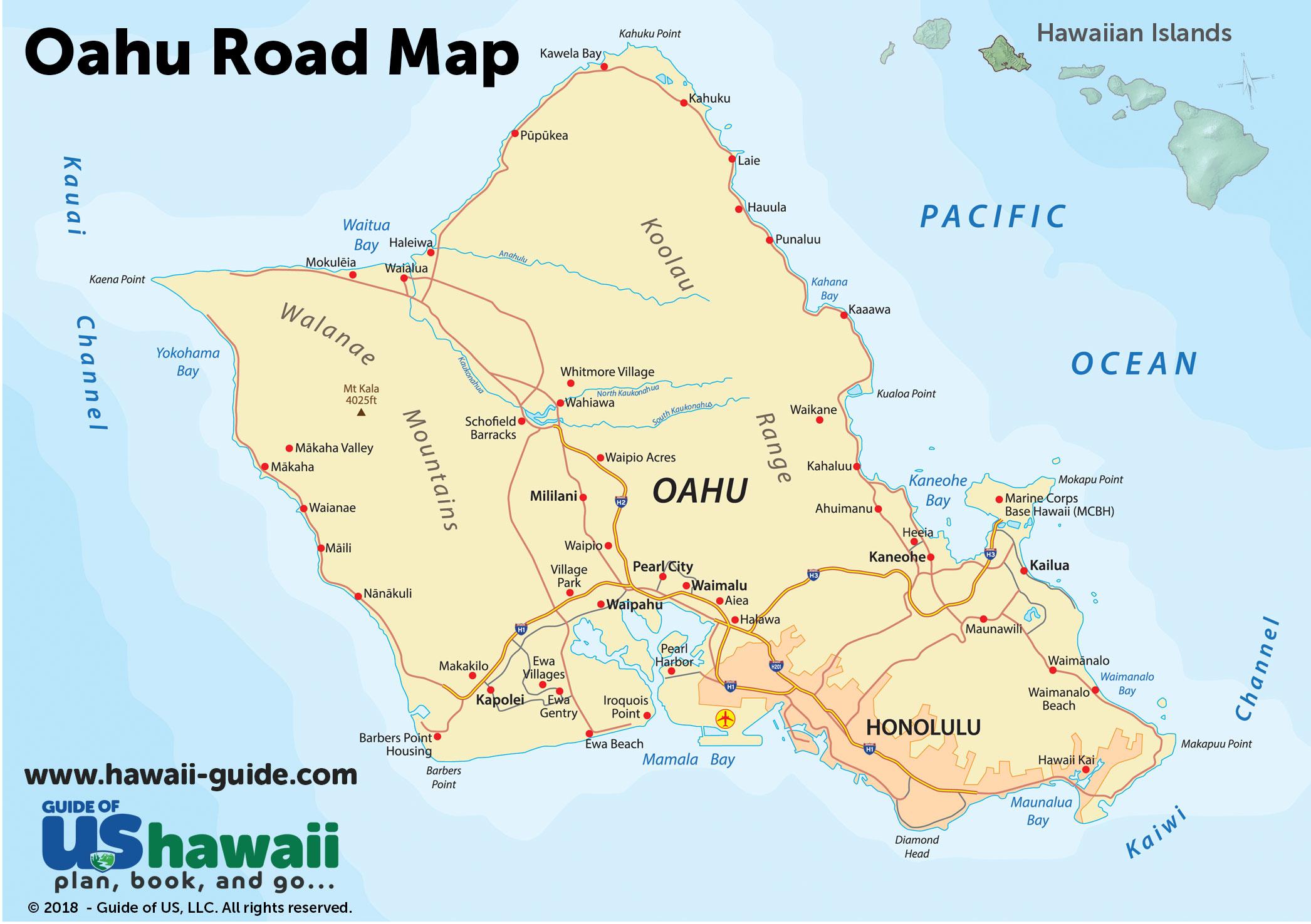 Oahu Hawaii Maps Travel Road Map Of Oahu