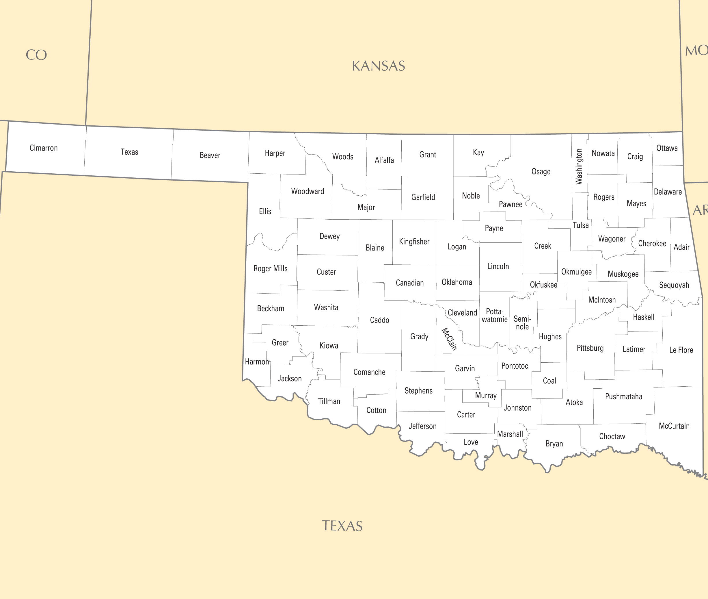 Oklahoma County Map Mapsof Net