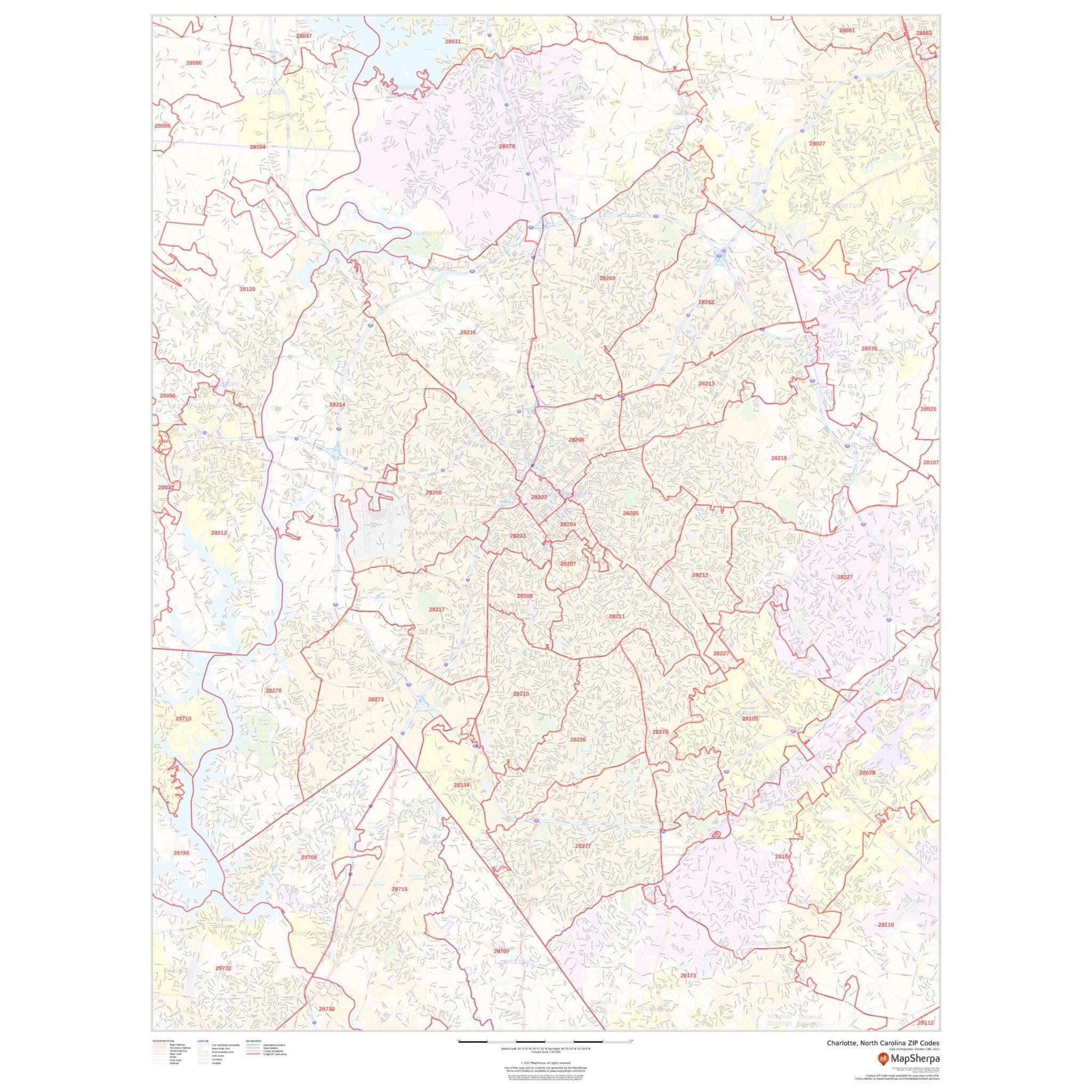 Online Map Around The World 27 Charlotte Zip Codes Map