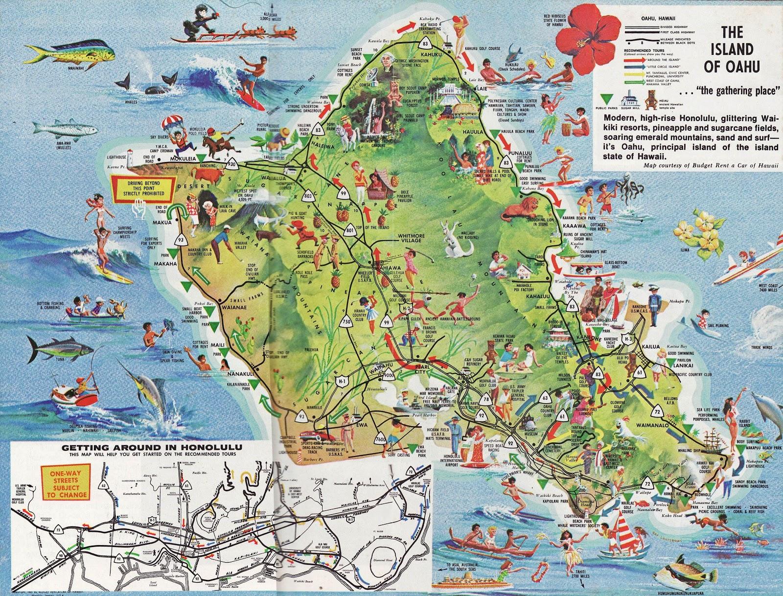 Online Maps Oahu Tourist Map